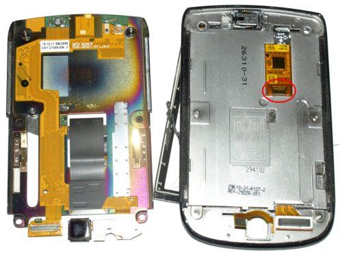Blackberry 9800 torch - az érintőpanel csatlakozópontja