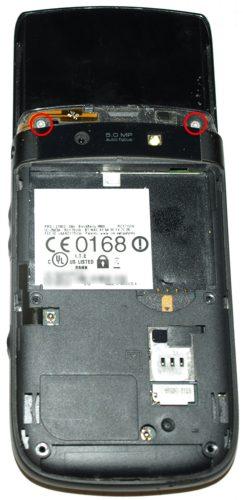 Blackberry 9800 torch - az első keret alatti T6-os csavarok