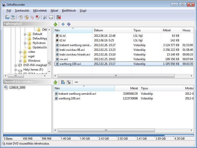InfraRecorder összeállítás-szerkesztő ablak