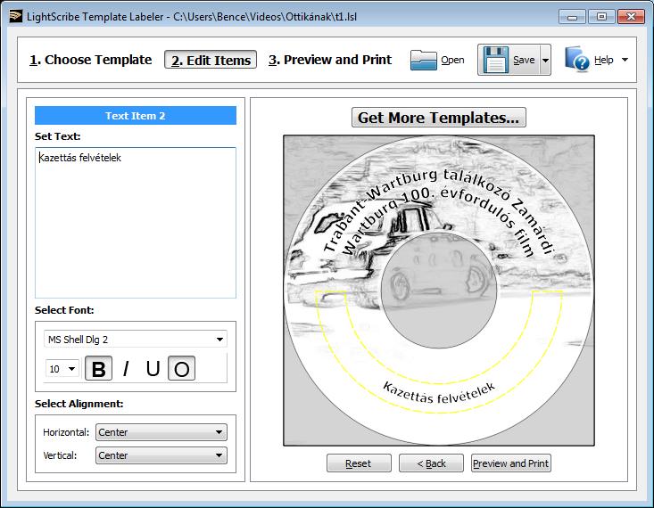 LightScribe Template Labeler elemszerkesztő