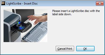LightScribe Template Labeler figyelmeztetés