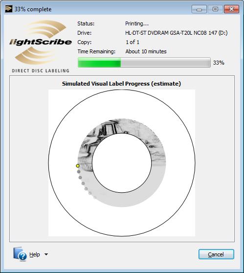 LightScribe Template Labeler nyomtatási folyamat